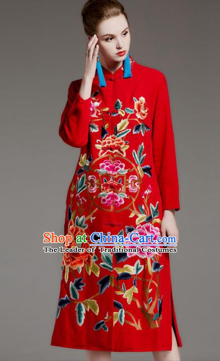 Chinese National Costume Embroidered Peony Coats Traditional Red Dust Coat for Women