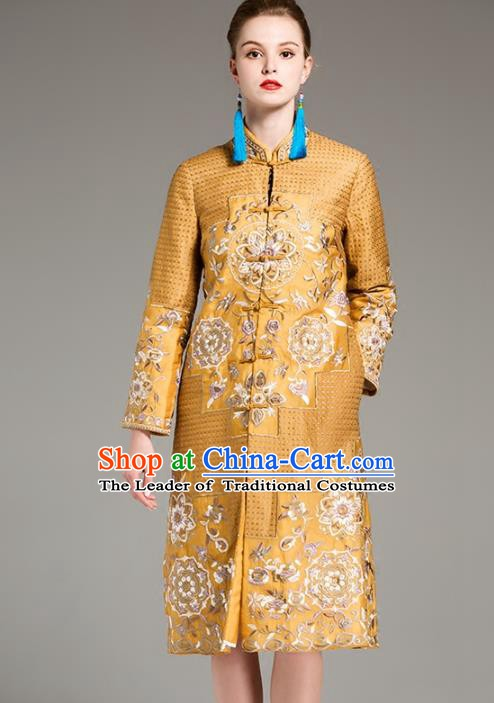 Chinese National Costume Embroidered Golden Coats Traditional Dust Coat for Women