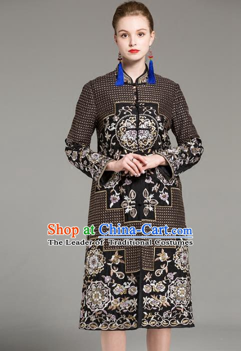 Chinese National Costume Embroidered Brown Coats Traditional Dust Coat for Women