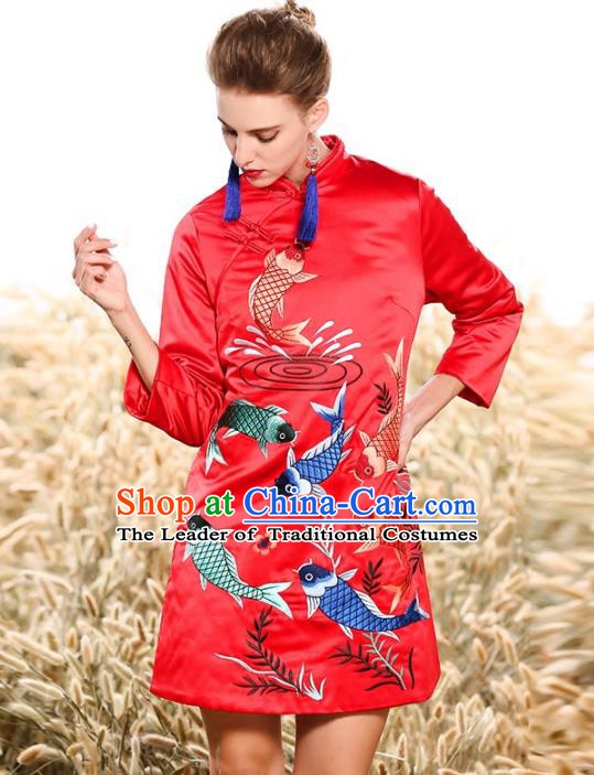 Chinese National Costume Tang Suit Cotton Wadded Jacket Traditional Embroidered Red Blouse for Women
