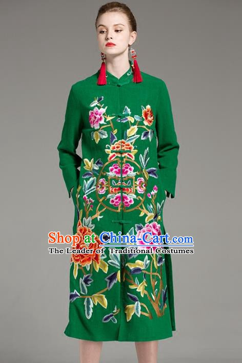 Chinese National Costume Embroidered Peony Green Long Coats Traditional Dust Coat for Women