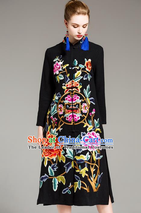 Chinese National Costume Embroidered Peony Black Long Coats Traditional Dust Coat for Women