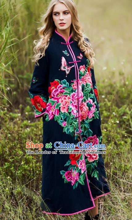 Chinese National Costume Embroidered Peony Navy Coats Traditional Woolen Dust Coat for Women