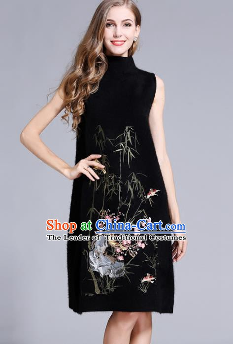 Chinese National Costume Cheongsam Embroidered Bamboo Black Dress Tang Suit Qipao for Women
