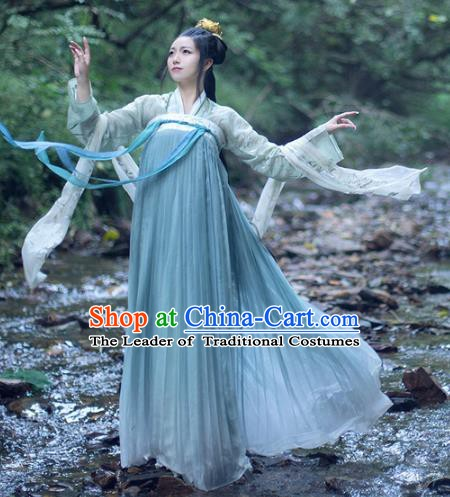Chinese Ancient Tang Dynasty Nobility Lady Embroidered Hanfu Dress Costume for Women