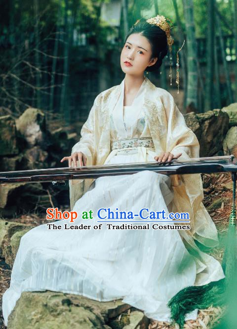 Chinese Ancient Princess Tang Dynasty Palace Lady Embroidered Hanfu Dress Costume for Women