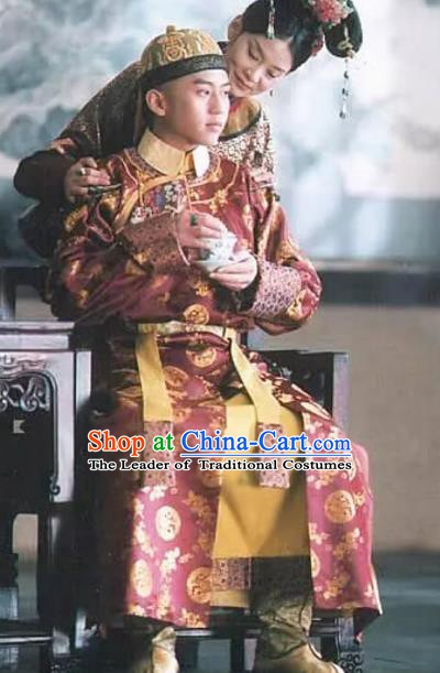Chinese Traditional Replica Costumes Historical Costume China Qing Dynasty Shunzhi Emperor Clothing for Men