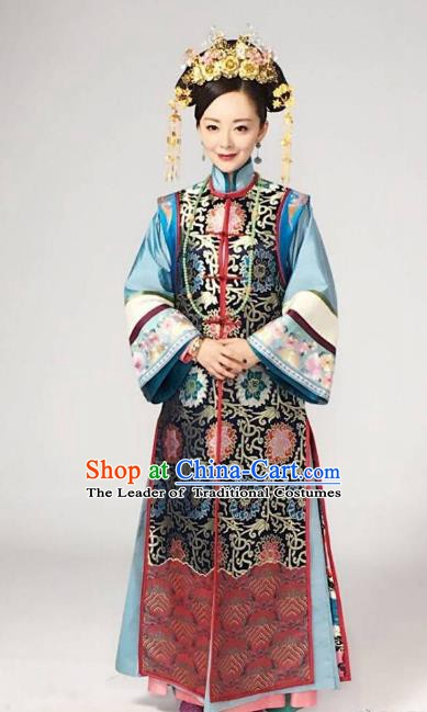 Chinese Traditional Historical Costume China Qing Dynasty Kangxi Empress Dowager Embroidered Clothing
