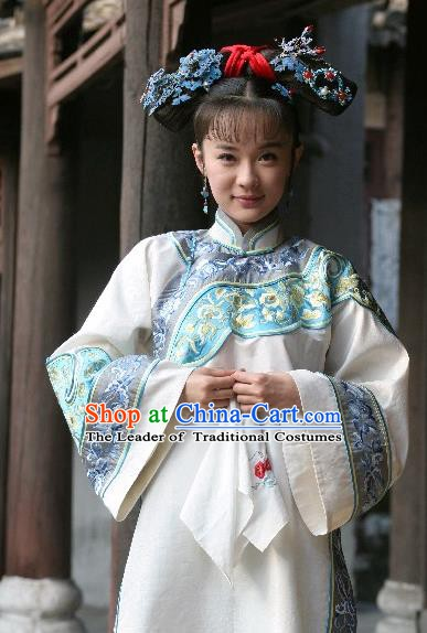 Chinese Traditional Palace Lady Historical Costume China Qing Dynasty Shunzhi Imperial Concubine Dong Clothing