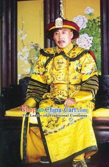 Chinese Traditional Majesty Historical Costume China Qing Dynasty Kangxi Emperor Embroidered Dragon Robe Clothing