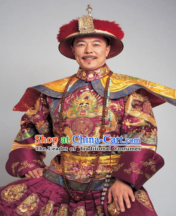 Chinese Traditional Majesty Historical Costume China Qing Dynasty Qianlong Emperor Embroidered Dragon Robe Clothing