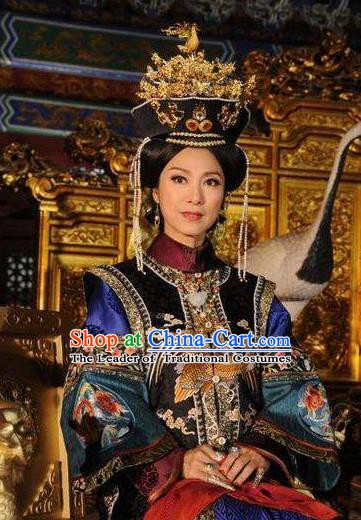 Chinese Traditional Palace Lady Historical Costume China Qing Dynasty Kangxi Queen Mother Clothing