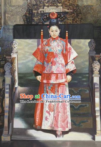 Chinese Ancient Manchu Lady Historical Costume China Qing Dynasty Xiaozhuang Empress Clothing