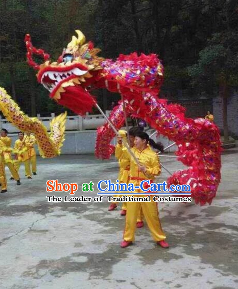 Chinese Classical Parade Procession Colorful Dragon Dance Costumes Complete Set for 8 People Adults or Kids