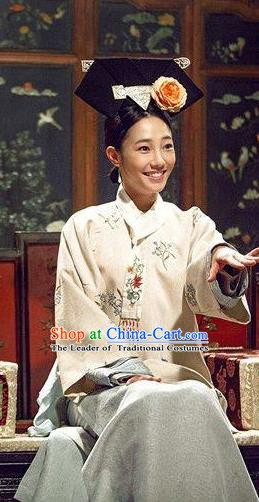 Chinese Ancient Imperial Concubine Historical Costume China Qing Dynasty Manchu Lady Clothing