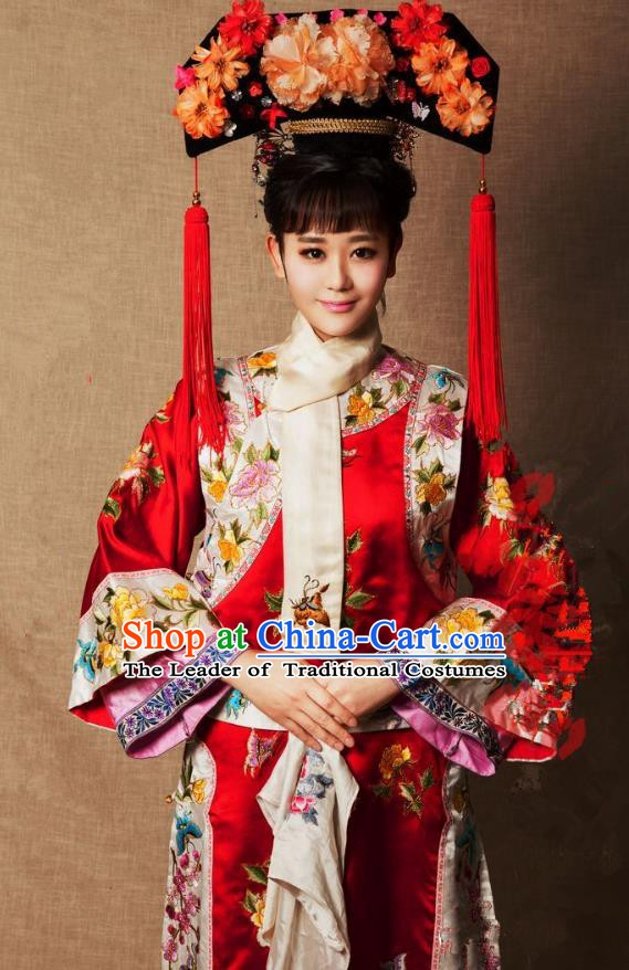 Chinese Ancient Princess Jianning Historical Replica Costume China Qing Dynasty Manchu Lady Embroidered Clothing