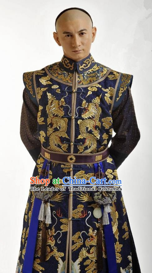 Chinese Traditional Kangxi Four Prince Yinzhen Historical Costume China Qing Dynasty Embroidered Clothing