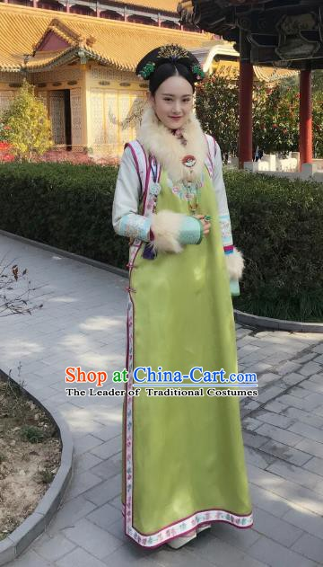 Chinese Ancient Imperial Concubine Zhezhe Historical Replica Costume China Qing Dynasty Manchu Lady Embroidered Clothing