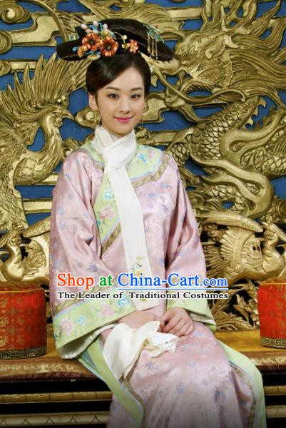 Chinese Ancient Kangxi Imperial Concubine Historical Replica Costume China Qing Dynasty Manchu Lady Embroidered Clothing