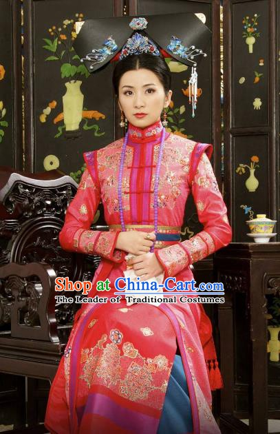 Chinese Ancient Shunzhi Empress Historical Replica Costume China Qing Dynasty Palace Lady Embroidered Clothing