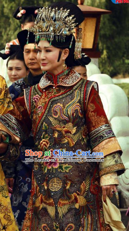Chinese Ancient Palace Empress Dowager Xiaozhuang Historical Replica Costume China Qing Dynasty Manchu Lady Clothing