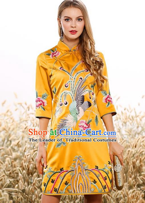 Chinese National Costume Tang Suit Yellow Qipao Dress Traditional Embroidered Phoenix Cheongsam for Women