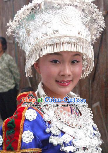 Traditional Chinese Miao Nationality Wedding Hats Hair Accessories Sliver Crown Headwear for Women