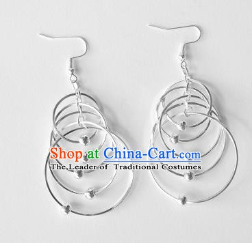 Traditional Chinese Miao Nationality Sliver Earrings Hmong Accessories Eardrop for Women