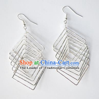 Traditional Chinese Miao Nationality Earrings Hmong Accessories Sliver Eardrop for Women