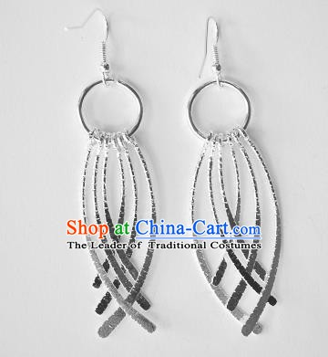 Traditional Chinese Miao Nationality Tassel Earrings Hmong Accessories Sliver Eardrop for Women