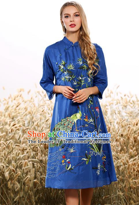 Chinese National Costume Tang Suit Blue Qipao Dress Traditional Embroidered Bamboo Cheongsam for Women