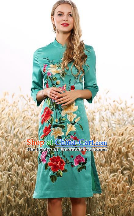 Chinese National Costume Tang Suit Green Qipao Dress Traditional Embroidered Flowers Cheongsam for Women