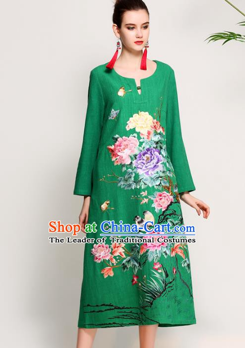 Chinese National Costume Tang Suit Green Qipao Dress Traditional Embroidered Peony Flowers Cheongsam for Women