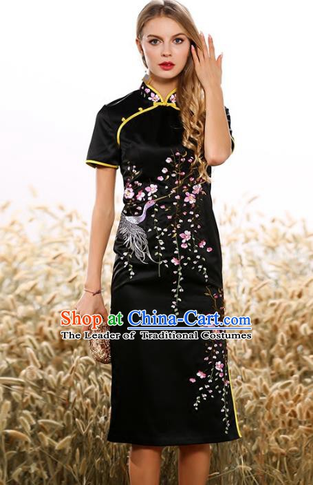 Chinese National Costume Tang Suit Black Qipao Dress Traditional Embroidered Cheongsam for Women