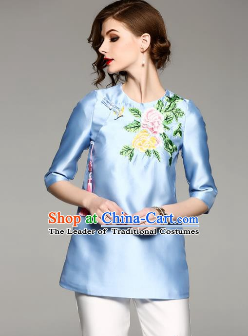 Chinese National Costume Tang Suit Qipao Shirts Traditional Embroidered Peony Blue Blouse for Women