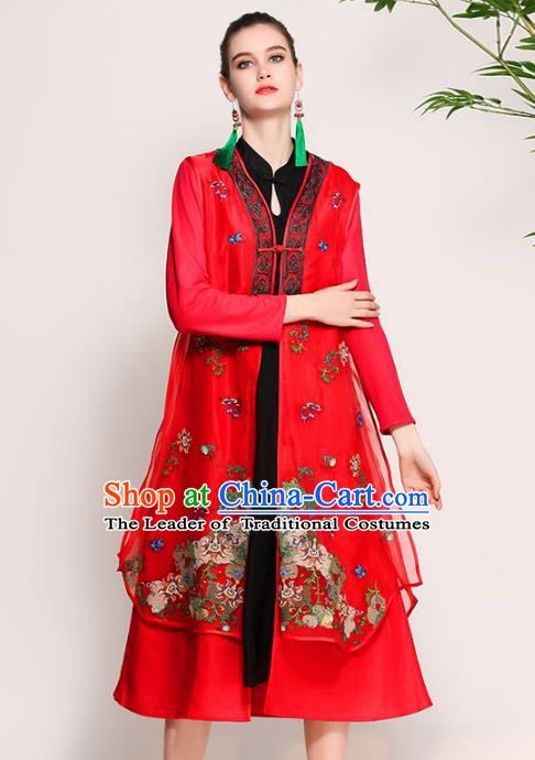 Chinese National Costume Tang Suit Red Dust Coats Traditional Embroidered Coat for Women