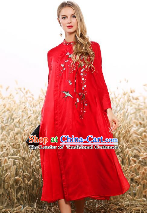 Chinese National Costume Tang Suit Qipao Dress Traditional Embroidered Red Cheongsam for Women