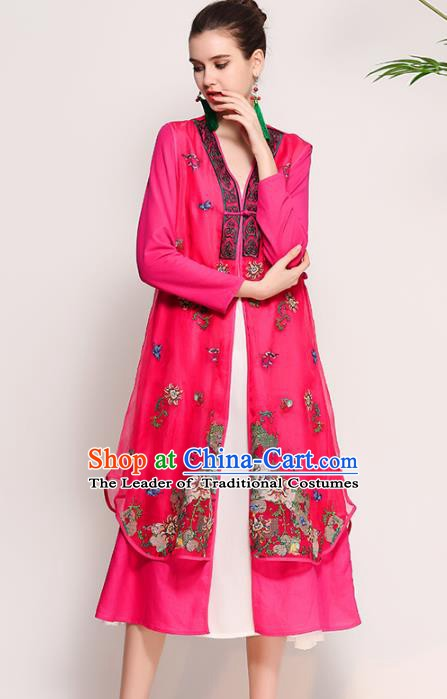 Chinese National Costume Tang Suit Pink Dust Coats Traditional Embroidered Coat for Women