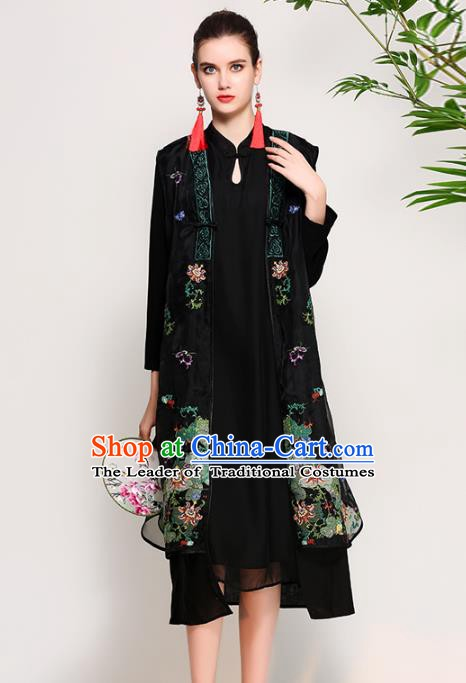 Chinese National Costume Tang Suit Black Dust Coats Traditional Embroidered Coat for Women