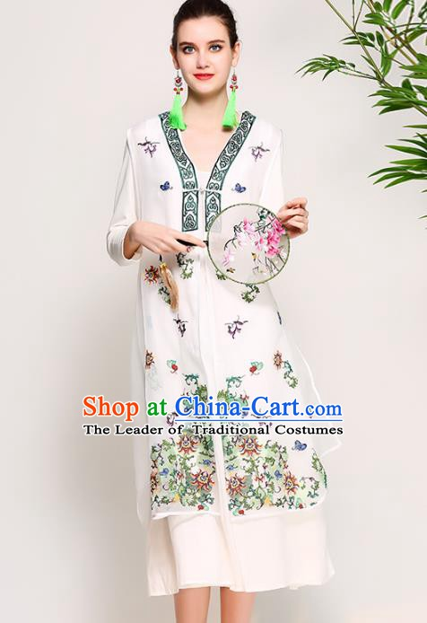 Chinese National Costume Tang Suit White Dust Coats Traditional Embroidered Coat for Women