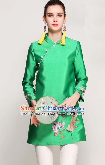 Chinese National Costume Tang Suit Green Blouse Traditional Embroidered Upper Outer Garment for Women