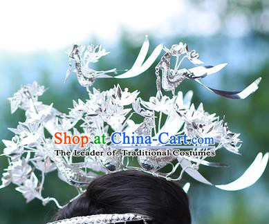 Traditional Chinese Miao Nationality Hair Accessories Sliver Birds Hairpins Headwear Hmong Hair Clip for Women