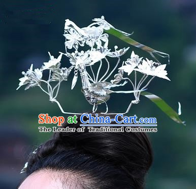 Traditional Chinese Miao Nationality Hair Accessories Sliver Birds Hairpins Hmong Hair Clip Headwear for Women