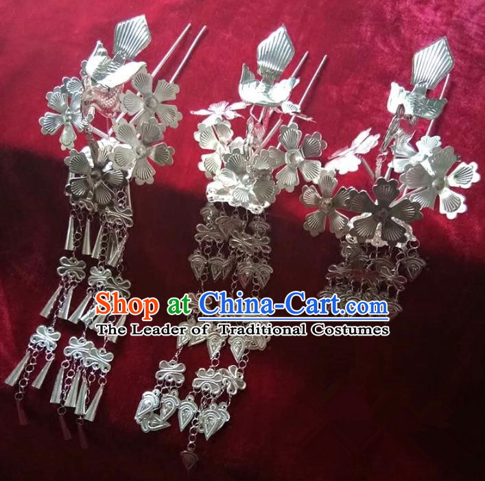 Traditional Chinese Miao Nationality Hair Accessories Tassel Hairpins Hmong Sliver Hair Clip Headwear for Women