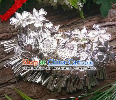 Traditional Chinese Miao Nationality Hair Accessories Tassel Sliver Hairpins Hmong Hair Comb Headwear for Women