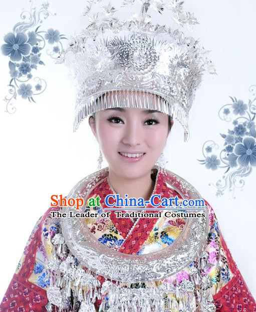 Traditional Chinese Miao Nationality Tassel Hats Phoenix Coronet Hair Accessories Sliver Crown Headwear for Women
