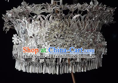 Traditional Chinese Miao Nationality Hair Accessories Headwear Hmong Miao Female Sliver Crown for Women