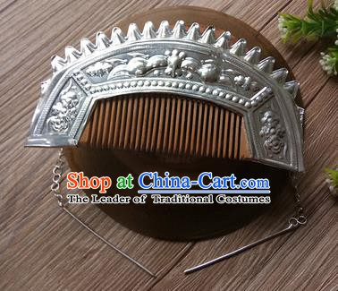 Traditional Chinese Miao Nationality Hair Accessories Hairpins Headwear Hmong Miao Hair Comb for Women