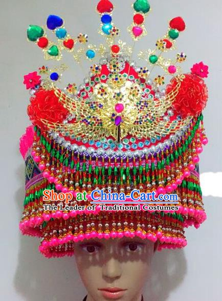 Traditional Chinese Yi Nationality Dance Hair Accessories Crystal Hats Hmong Ethnic Minority Headwear for Women