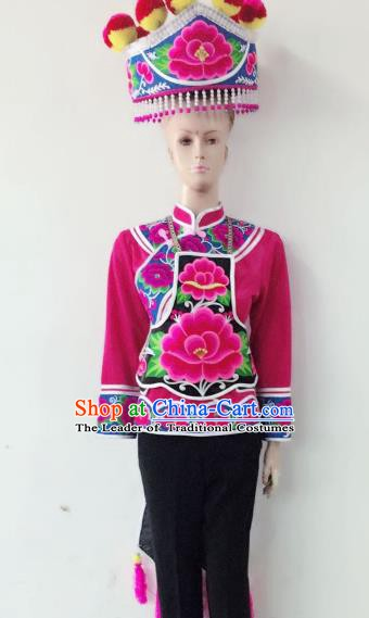 Traditional Chinese Yi Nationality Costume China Bai Ethnic Minority Embroidered Clothing for Women